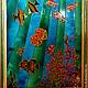 Пейзаж ручной работы. Ярмарка Мастеров - ручная работа. Купить Витраж (роспись) Море синее. Handmade. Море, стекло
