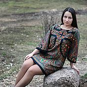 Одежда ручной работы. Ярмарка Мастеров - ручная работа Платье-туника из ПП платка Волшебница( ТОЧНЫЙ ПОВТОР НЕВОЗМОЖЕН). Handmade.