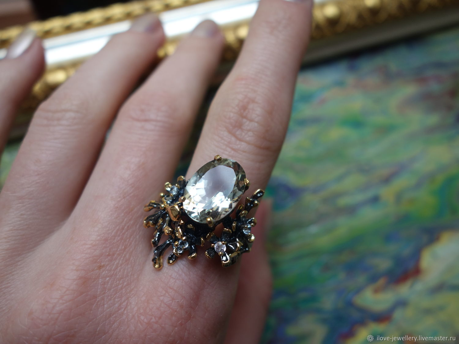 'Vimala ' - a beautiful cocktail ring with green amethyst, Rings, Moscow,  Фото №1
