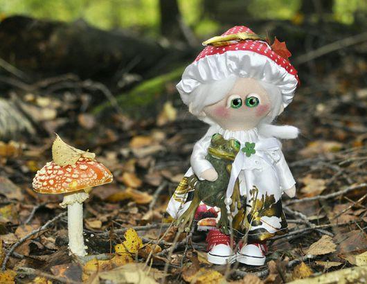 Куклы тыквоголовки ручной работы. Ярмарка Мастеров - ручная работа. Купить Мухоморушка. Handmade. Ярко-красный, зеленый, грибок