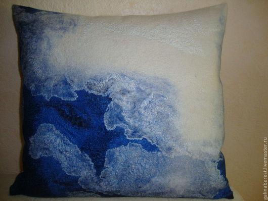 Текстиль, ковры ручной работы. Ярмарка Мастеров - ручная работа. Купить Подушка из шерсти  018. Handmade. Тёмно-синий