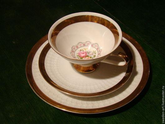 Винтажная посуда. Ярмарка Мастеров - ручная работа. Купить Фарфоровое чайное трио  Bavaria. Handmade. Фарфор, ретро, чайная чашка