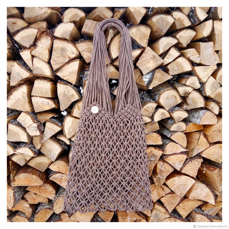 Bag-string bag macrame ' Coffee with milk', String bag, Petrozavodsk,  Фото №1