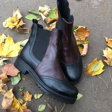 """Обувь ручной работы. Ярмарка Мастеров - ручная работа Челси """"black and burgundy"""". Handmade."""