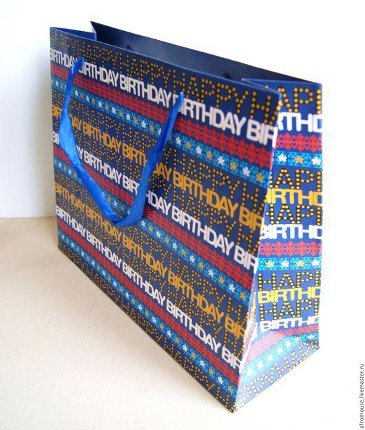 Пакет `Happy Birthday` 32х26х11 см, горизонтальный полосатый
