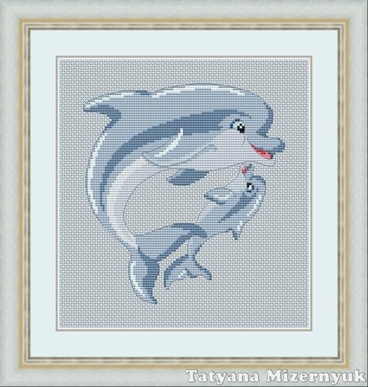 """Вышивка ручной работы. Ярмарка Мастеров - ручная работа. Купить Схема для вышивки крестиком """"Дельфины"""". Handmade. Авторские схемы вышивки"""