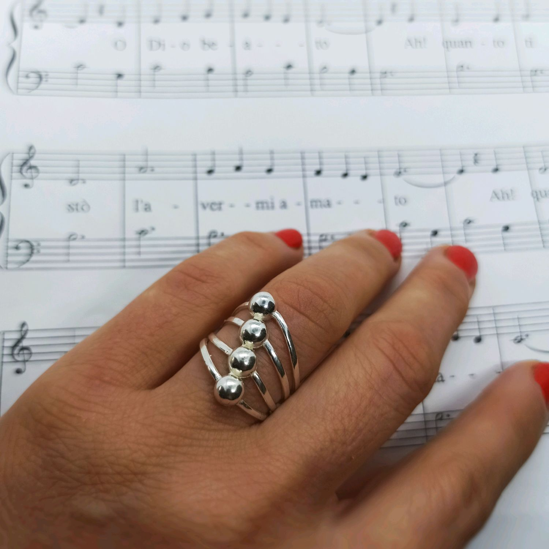 Модное кольцо Шарики. Стерлинговое серебро 925 проба, Кольца, Турин,  Фото №1