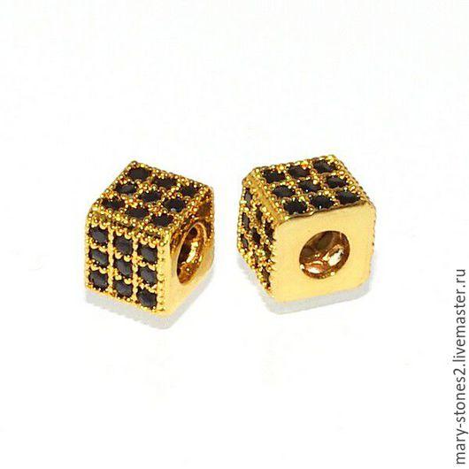 Для украшений ручной работы. Ярмарка Мастеров - ручная работа. Купить Бусина кубик 5мм с  черными фианитами, желтое золото. Handmade.