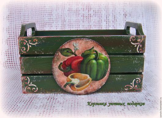 """Кухня ручной работы. Ярмарка Мастеров - ручная работа. Купить Ящичек для кухни """"Овощи"""". Handmade. Тёмно-зелёный, для специй"""