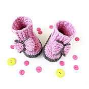 Работы для детей, ручной работы. Ярмарка Мастеров - ручная работа детские вязаные сапожки пинетки для девочки, розовый, серый (3-6 мес). Handmade.
