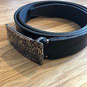 handmade. Livemaster - original item Leather belt with stainless steel buckle. Handmade.