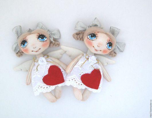 Коллекционные куклы ручной работы. Ярмарка Мастеров - ручная работа. Купить Ангелы с сердечками. Handmade. Белый, ангел, ангелочек, ангелочки