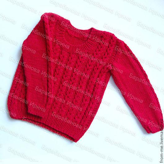Одежда для девочек, ручной работы. Ярмарка Мастеров - ручная работа. Купить Свитер с сердечками для девочки. Handmade. Ярко-красный, сердечки