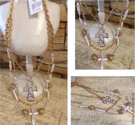Авторские украшения ручной работы из натурального жемчуга Барокко дизайнера Светланы Молодых колье ожерелья длинные бусы на шею купить заказать в Москве
