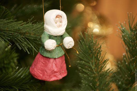 """Человечки ручной работы. Ярмарка Мастеров - ручная работа. Купить Ватная елочная игрушка """"Агаша"""". Handmade. Комбинированный, подарок девушке"""