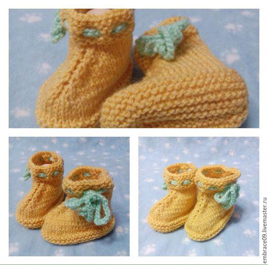Для новорожденных, ручной работы. Ярмарка Мастеров - ручная работа. Купить солнечные пинетки-ботиночки. Handmade. Желтый, пинетки для девочки