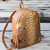 Сумки и аксессуары handmade. Livemaster - original item Backpack made of genuine Python skin and sheep skin. leather backpack. Handmade.