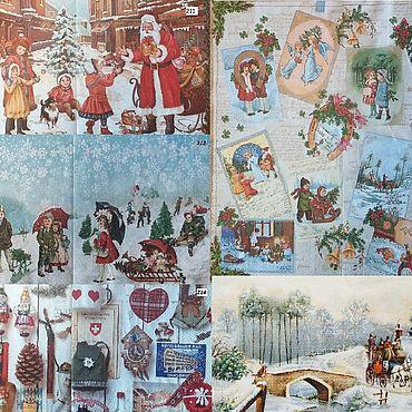 Материалы для творчества ручной работы. Ярмарка Мастеров - ручная работа Набор 5 штук Новогодние салфетки для декупажа - Рождество. Handmade.