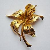 MONET - Большая редкая винтажная брошь, золотого тона