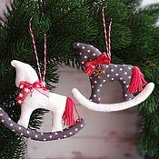 Сувениры и подарки handmade. Livemaster - original item Horses toys for the Christmas tree rocking horse polka dots New Year horse. Handmade.