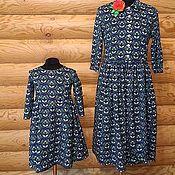 Одежда ручной работы. Ярмарка Мастеров - ручная работа Платье Синий орнамент Хлопок 100%. Handmade.