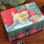 Для дома и интерьера handmade. Livemaster - original item Christmas box with puppy. Handmade.
