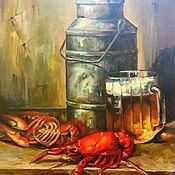 """Картины и панно ручной работы. Ярмарка Мастеров - ручная работа Картина маслом """"Пиво с раками"""". Handmade."""