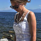 "Украшения handmade. Livemaster - original item Porcelain necklace ""Minimalistic Tenita"" with Japanese pearls. Handmade."