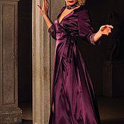 """Одежда ручной работы. Ярмарка Мастеров - ручная работа Платье """"Готика Атлас"""" П109 фиолетовый атлас. Handmade."""