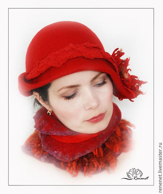 """Шляпы ручной работы. Ярмарка Мастеров - ручная работа. Купить Шляпка в комплекте с горжеткой """"Март"""". Handmade. Ярко-красный, огонь"""