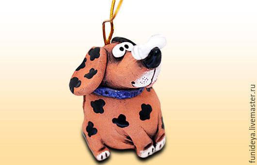 Колокольчики ручной работы. Ярмарка Мастеров - ручная работа. Купить Собака, керамический колокольчик. Собака из глины.. Handmade. Найденов сергей