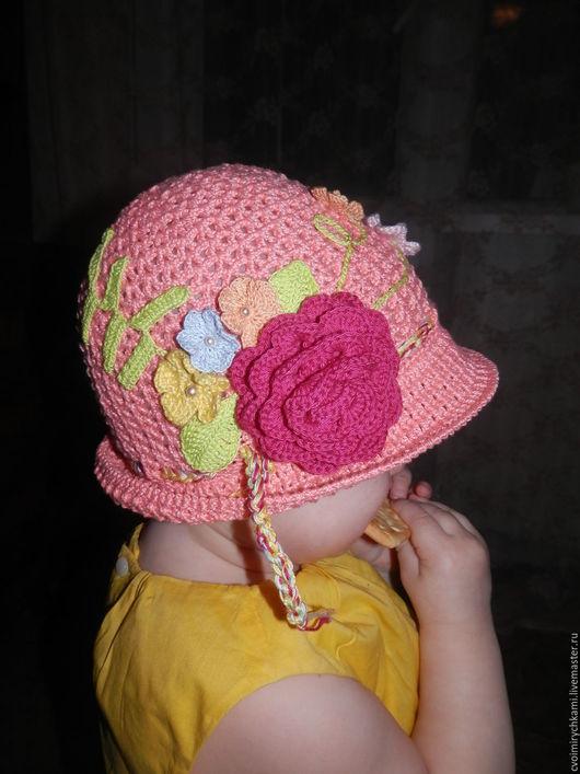 Шапки и шарфы ручной работы. Ярмарка Мастеров - ручная работа. Купить детская шапочка цветочная полянка. Handmade. Комбинированный