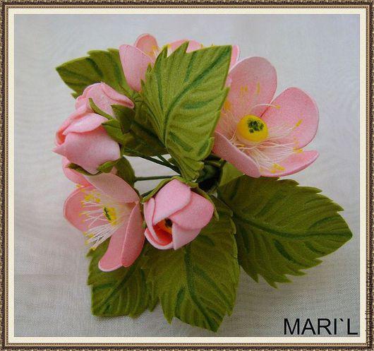 """Броши ручной работы. Ярмарка Мастеров - ручная работа. Купить Брошь """"Яблоневый цвет"""". Handmade. Розовый, брошь, цветочная композиция"""