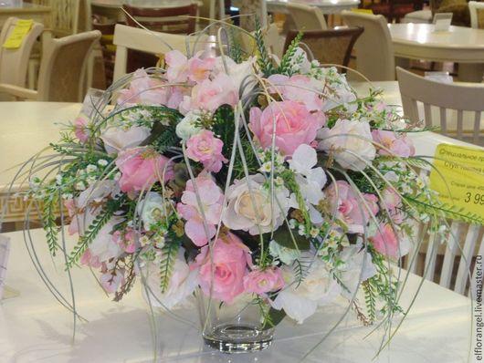 Интерьерные композиции ручной работы. Ярмарка Мастеров - ручная работа. Купить Интерьерная композиция Розовые розы. Handmade. Розовый, букет