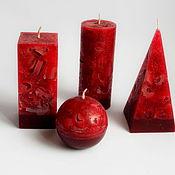 Свечи ручной работы. Ярмарка Мастеров - ручная работа Свечи: Комплект свечей ручной работы Мрамор красный. Handmade.