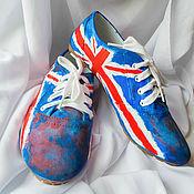 """Обувь ручной работы. Ярмарка Мастеров - ручная работа Кеды женские  """"Британский флаг""""., кеды с рисунком, роспись кед. Handmade."""