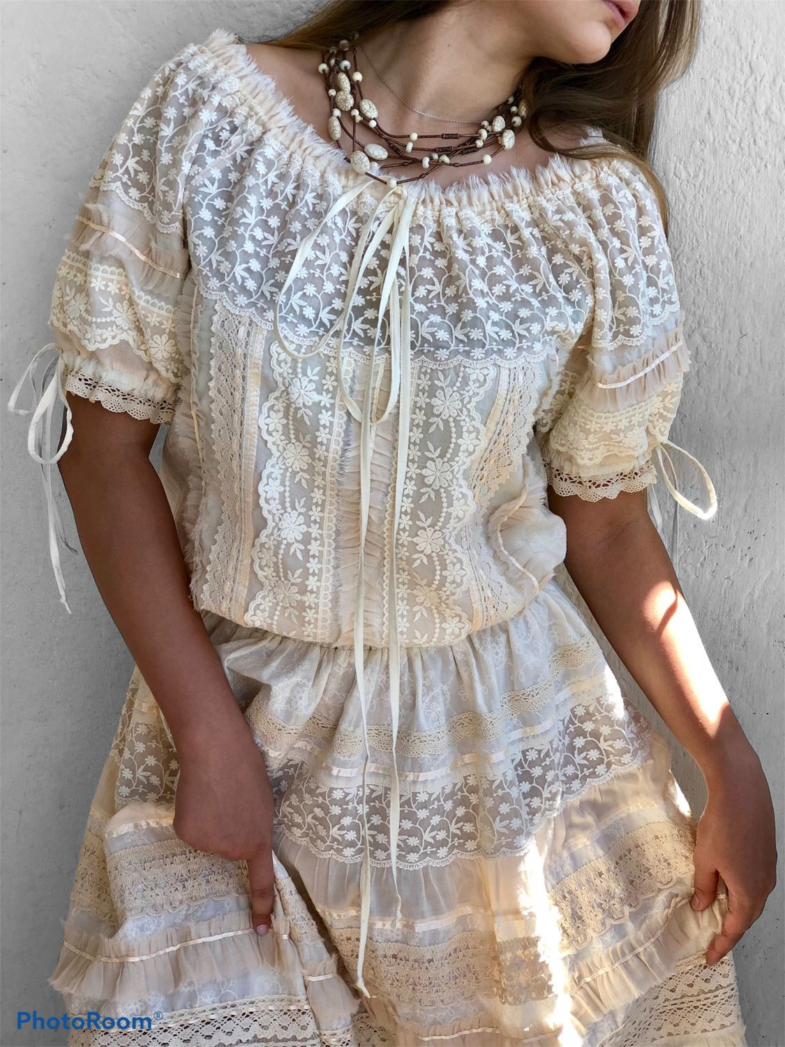 Dress from sewing and lace in boho style Odette cream short sleeve, Wedding dresses, Tashkent,  Фото №1
