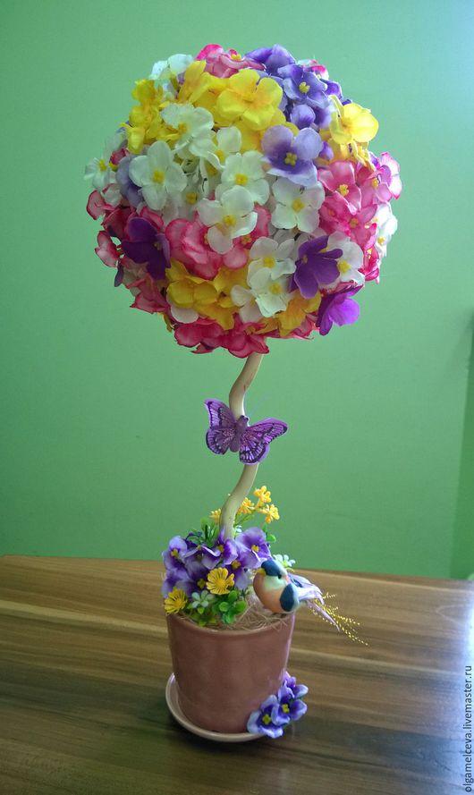 Персональные подарки ручной работы. Ярмарка Мастеров - ручная работа. Купить Топиарий из искусственных цветов. Handmade. Искусственные цветы, дерево