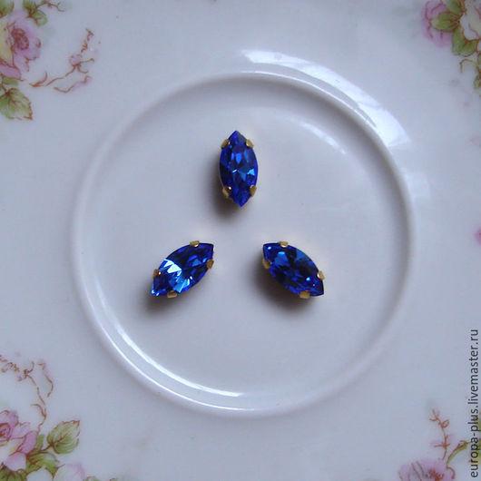 Для украшений ручной работы. Ярмарка Мастеров - ручная работа. Купить Винтажные кристаллы 10x5 мм - Sapphire. Handmade. Синий