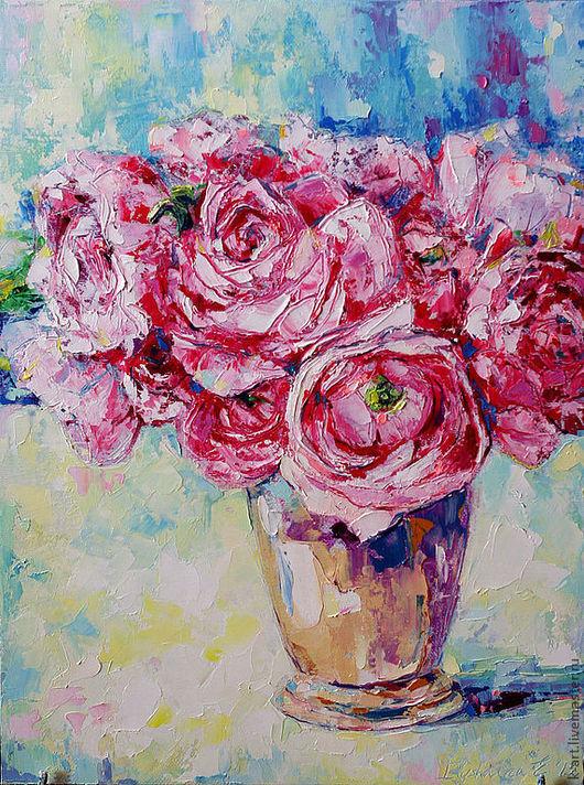 Картины цветов ручной работы. Ярмарка Мастеров - ручная работа. Купить Ранункулюсы в вазе. Handmade. Брусничный, картины цветов, лимонный