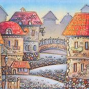 """Картины и панно ручной работы. Ярмарка Мастеров - ручная работа Батик """"Старый город с красными крышами"""". Handmade."""