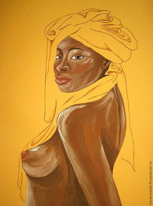 Ню ручной работы. Ярмарка Мастеров - ручная работа. Купить Негритянка. Handmade. Африка, красное и черное, желтый, акварель
