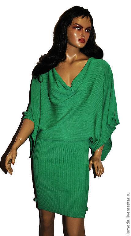 Платья ручной работы. Ярмарка Мастеров - ручная работа. Купить Платье вязаное. Handmade. Зеленый, Машинное вязание, платье из вискозы