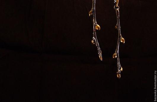 """Серьги ручной работы. Ярмарка Мастеров - ручная работа. Купить Серебряные серьги """"Веточки"""". Handmade. Золотой, серьги длинные"""
