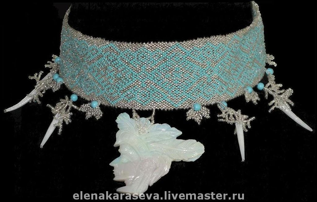 Necklace of beads with opal, Necklace, Moscow,  Фото №1
