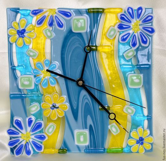 Часы для дома ручной работы. Ярмарка Мастеров - ручная работа. Купить Часики Популярные Фьюзинг. Handmade. Синий, часы настеные