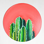 Картины и панно handmade. Livemaster - original item Oil painting of a cactus with Round oil painting. Handmade.