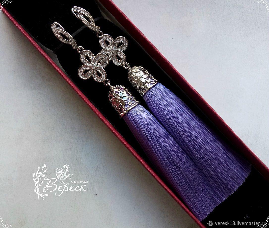 Lilac earrings-brush SUITE, Tassel earrings, Izhevsk,  Фото №1