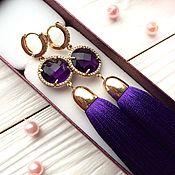 Украшения ручной работы. Ярмарка Мастеров - ручная работа Серьги-кисти Luxury Glass Violet сиреневые фиолетовые лиловые. Handmade.