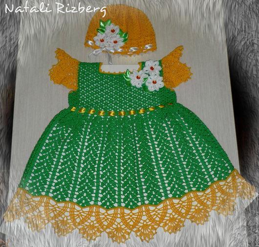 """Одежда для девочек, ручной работы. Ярмарка Мастеров - ручная работа. Купить Летнее платье крючком для девочки""""КОЛОСКИ"""". Handmade. Ярко-зелёный"""